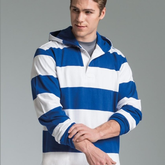 Charles River Other - Charles River Blue White Striped Hooded Rugby